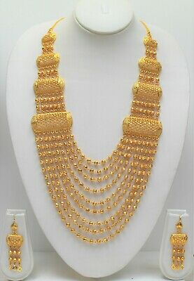 Indian Gold Plated Necklace Set With Earring Bridal Bollywood Long Necklace New 19 99 Picclick Uk