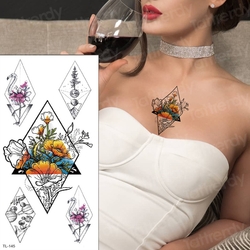 Temporary Tattoo Women Under Breast Tattoo Mehndi Stickers Underboob Sternum Temporary Tattoos Waterproof Large Tatoo Fake Henna Buy At The Price Of 0 74 In Aliexpress Com Imall Com