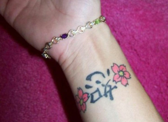 Chinese Symbol And Flowers Tattoos On Wrist