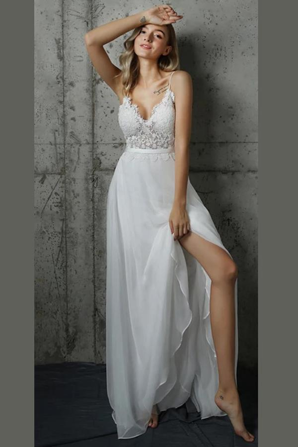 White A Line Floor Length Sweetheart Low Back Lace Beach Wedding Dress Ombreprom